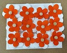12Stück Blume groß 4cm Aufkleber orange Stoff Dekoration Bonboniere