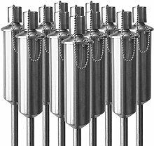 12 Stück Edelstahl Gartenfackel 120cm Öllampe Gartenlampe mit Sicherheitsverschluss Windlicht höhenverstellbar