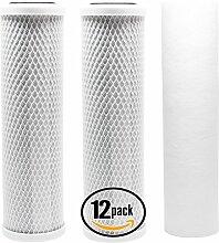 12Stück Ersatz Filter Kit für Purenex ro-6–100RO System–inkl. Carbon Block Filter & Polypropylen Sediment Filter–Denali Pure Marke