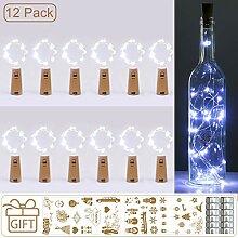 (12 Stück) Flaschenlicht Batterie, kolpop 2m 20