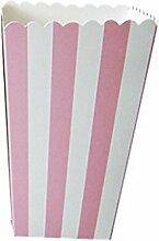 12 Stückgestreifte Popcorn-Tüten für die Kinderparty - Naschtüten für Geburtstag, Hochzeit, als Dekoration - Farbe: rosa, rose, Einheitsgröße