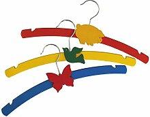 12 Stück Kinderkleiderbügel aus Holz, bunt lackiert mit Tiermotiv