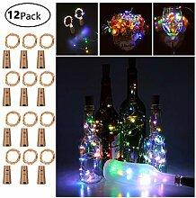 12 Stück LED Flaschenlicht, 20 LEDs 2M