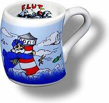 12 Stück- Mini Porzellan- Tasse, Kaffeepott, Becher- Sturmbecher- Leuchtturm Flut - deutsches Produktdesign