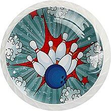 12 Stück Schrankknäufe Retro Bowling Party Pop