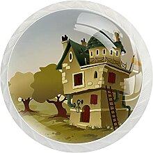 12 Stück Schrankknäufe seltsames Haus, runde