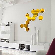 12 Stück Spiegel-Wand-Aufkleber, Hexagon Spiegel