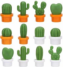 12 Stück süße Kaktus-Kühlschrank-Deko-Magnete,