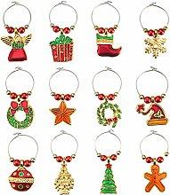 12 Stück Weinglas-Charms für Weihnachten -
