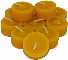 12 Teelichter aus reinem Bienenwachs Handarbeit