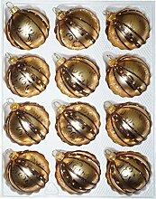 12 TLG. Glas-Weihnachtskugeln Set in Goldener