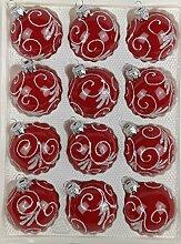 12 TLG. Glas-Weihnachtskugeln Set in Hochglanz
