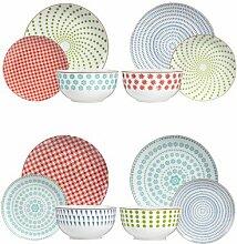 12-tlg. Tafelservice aus Porzellan für 4 Personen