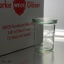 12 Weck 160ml Sturzgläser RR60 mit Glasdeckel und