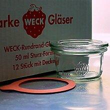 12 Weck Mini Sturzgläser 50ml mit Glasdeckel und