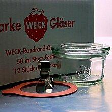 12 Weck Mini Sturzgläser 50ml mit mit Glasdeckel,