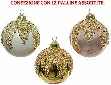 12 Weihnachtskugeln aus Glas 8 cm mit Perlen, für