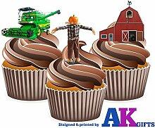 12 X et épouvantail agriculteurs Moissonneuses Barn décorations comestibles en gaufrette pour cupcakes