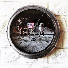 12-Zoll-einfache runde Leise Wanduhr, Home Decoration Glas, Weltraum