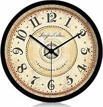 12-Zoll-Retro-hängende Uhr Metallgehäuse Glas Spiegel stumme Wanduhren