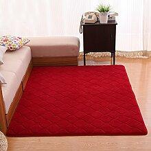 120 * 160 cm Schlafzimmer Wohnzimmer Tisch Matratzen Fenster Verdickungs Teppich floating Recken ( Farbe : Weinrot )