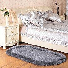 120 * 170cm Couchtisch Schlafzimmer Bett Matten, Stretch Seidenmatten, dicke ovale Wohnzimmer Eingang Matten ( Farbe : Grau )