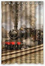 """120cm x 183cm (121,9x 182,9cm) Badezimmer Dusche Vorhang, Universal Lokomotive Retro Fashion Custom Hintergrund Design Wasserdicht Duschvorhang, Polyester, F, 48"""""""" x 72"""