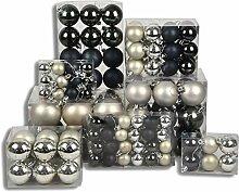 120 Stück HSM Weihnachtskugeln Silber/ Anthrazit