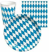 120-teiliges Partyset Bayrisch Blau Weiss Dekoration Bayern Oktoberfest: 10 Pappteller, 10 Kunststofftrinkbecher, 100 Servietten
