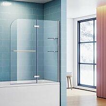 120cm Badewannenaufsatz Faltwand 2-teilig