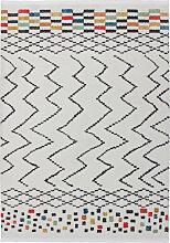 120x170 Teppich Agadir 410 Weiß / Schwarz / Multi