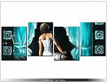 120x45cm - Leinwandbild mit Wanduhr - Moderne Dekoration - Holzrahmen - Schöne Mädchen in turkusach