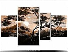 120x70cm - Leinwandbild mit Wanduhr - Moderne Dekoration - Holzrahmen - Ruhige Nach