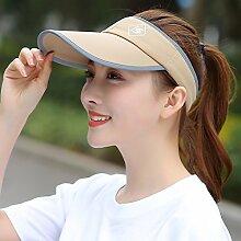 121600 JXXDQ Mann-Frauen-im Freiensport-Golf-Hut-Sommer-Sonnenschutz-UVbaseball-Hut leeren Zylinder (Farbe : Khaki)