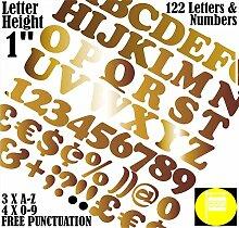 122 Buchstaben und Zahlen, Schriftart Cooper,