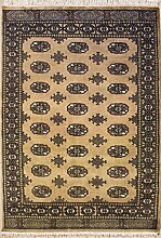 122x185 Bokhara Jaldar Area Rug with Wool Pile - Special Mori Bokhara Design   100% Original Hand-Knotted in Beige,Black,White colors   a 122 x 183 Rectangular Rug