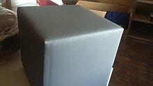 123home24.com Design Sitzwürfel Kubus I Kunstleder Hocker 40x40x40 cm Modern (Grau)