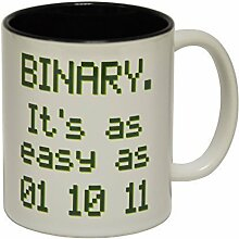 123t Mugs - Keramikbecher mit Slogan BINARY IT'S AS EASY AS 1 2 3 mit schwarzem Interieur