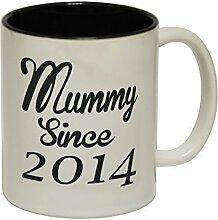 123t Mugs - Keramikbecher mit Slogan MUMMY SINCE MUG mit schwarzem Interieur