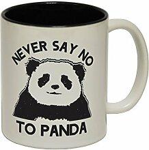 123t Mugs - Keramikbecher mit Slogan NEVER SAY NO TO PANDA mit schwarzem Interieur