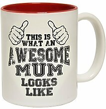 123t Mugs - Keramikbecher mit Slogan THIS IS WHAT AN AWESOME MUM LOOKS LIKE mit rotem Interieur