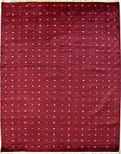 124x165 Gabbeh Area Rug with Silk & Wool Pile - Gabbeh Silk and Wool Design | 100% Original Hand-Knotted in Red,White colors | a 122 x 183 Rectangular Rug
