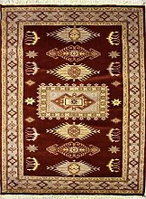 124x175 Caucasian Design Area Rug with Silk & Wool Pile - Geometric Design   100% Original Hand-Knotted in Red,Grey,Gold colors   a 122 x 183 Rectangular Rug