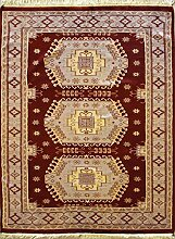 124x185 Caucasian Design Area Rug with Silk & Wool Pile - Geometric Design   100% Original Hand-Knotted in Red,Beige,Gold colors   a 122 x 183 Rectangular Rug