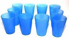 125 Plastik Trinkbecher 0,4 l - blau - Mehrwegtrinkbecher/Partybecher/Becher
