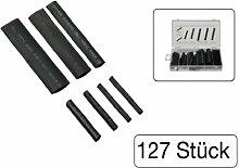 127 teiliges Sortiment Schrumpfschläuche schwarz in Kunststoff-Box sortier