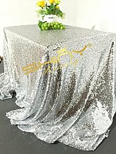 127x 182,9cm Silber Pailletten Tischdecke, Großhandel Hochzeit Schönes Silber Pailletten Tisch Tuch/Overlay/Cover