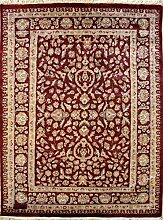 127x183 Pak Persian Area Rug with Silk & Wool Pile - Floral Design   100% Original Hand-Knotted in Red,Beige,Green colors   a 122 x 183 Rectangular Rug