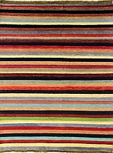 127x188 Gabbeh Area Rug with Wool Pile - Gabbeh Design | 100% Original Hand-Knotted Multicolored | a 122 x 183 Rectangular Rug