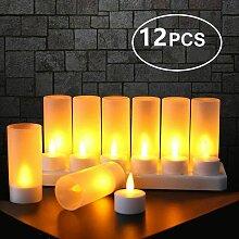 12er LED flammenlose Kerze, wiederaufladbare